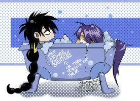Bath-Time with SinJu [Sinbad / Judal] Magi Chibis by lotras
