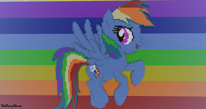rainbow dash in minecraft now with background by ThatPonyUknow