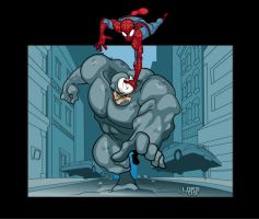 Spidey and Rhino by lordmesa