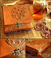 Steampunk Leather Pouch X by izasartshop