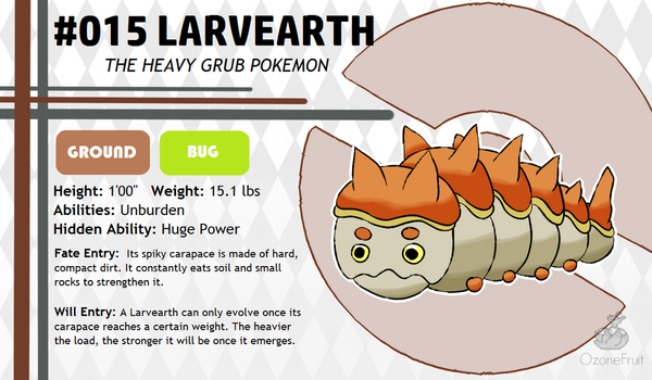 Pokemon Fate and Will Dex #015: Larvearth by OzoneFruit
