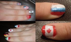 Hetalia flag nails by Bakeneko14