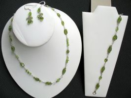 Peridot set, with earrings, necklace, and bracelet by AxmxZ