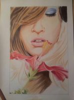 wip: woman with a flower color 2 by pwojciuk