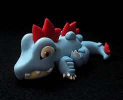Laying Feraligatr Sculpture by caffwin