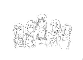 K-On Lineart by InsaneKushi