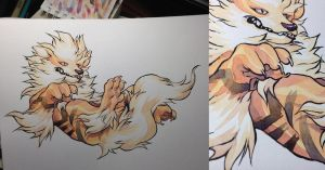 Arcanine watercolors by HJeojeo