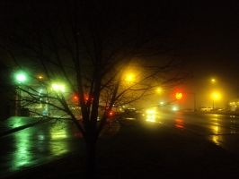 Town Lights in Fog and Rain by Anzeo