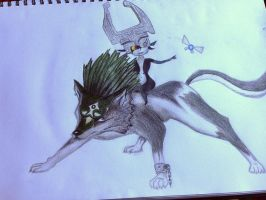 Wolf Link and Midna by Elektrafying