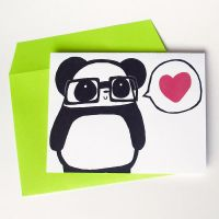 Nerdy Panda Love Greeting Card by Panduhmonium