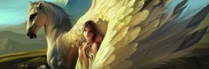 Girl and Pegasus Fragment by RHADS