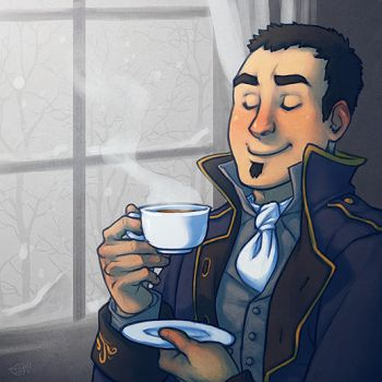 A Cup of Tea and the Gentle Fall of Snow by Merystic