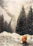 fox in the snow by bluejayblue