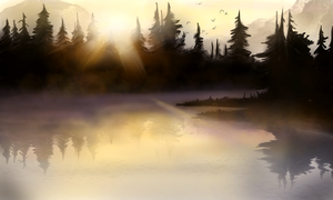 Speedpaint practice - Morning mist by merihil
