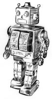 Illustration - Line triptych - Tin robot toy by TheLipGlossary