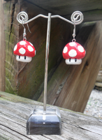 Hand-Painted Mushroom Earrings by oh-sew-fun
