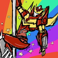 Pole Dancing Rodimus by CatgirlKitsune