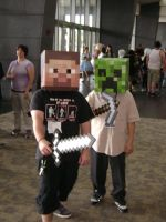 Steve and creeper cosplay by Robot001