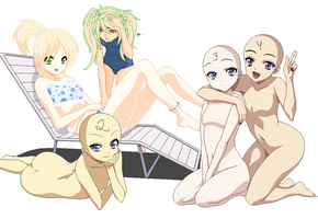 Cuties in swimsuits collab -closed- by mondobutt