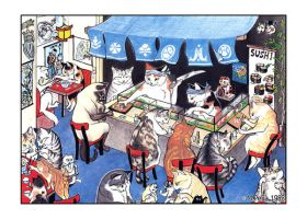 Sushi cats print by Reptangle