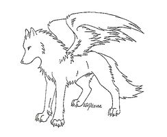 Winged Wolf Lineart by MS-Paint-Friendly