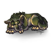 Sleeping chibi Wolf Link by TehBobcat