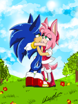 COLLAB with AzureDreamrealm -Sonamy in the garden- by Klaudy-na