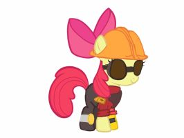Apple bloom as the Engineer team fortress 2 by Ripped-ntripps