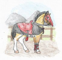 Chaos and her tack by Spudalyn