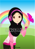 Muslimah and headphone : Special for Anisah by nur92