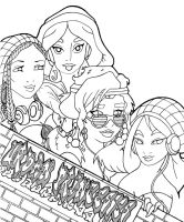 -Urban Disney Princesses lineart- by lizzzy-art