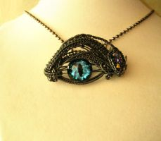 Violet Steampunk Dragon Eye in Aqua Glow 1 by LadyPirotessa