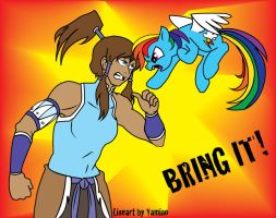 Korra vs Rainbow Dash by AvatarWolfman