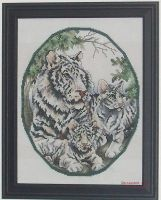 Cross Stitch - White Tigers by DragomirEmil