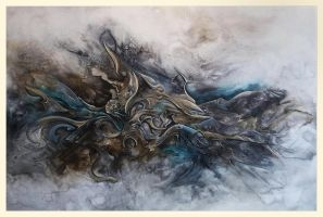 Poseidon abstract painting in progress by Amytea