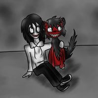 Jeff the Killer and Smile dog by Hekkoto