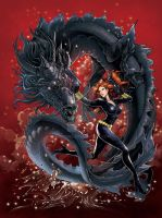 Black Widow with Black Dragon by daxiong
