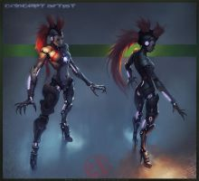 Cyborg Girl Design by Coldlobster