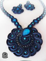 Soutache set of pendant and earrings by caricatalia