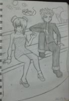 boy and girl sitting down at park bench by nickperriny7mai