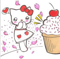 Hello Kitty Hearts Cupcakes by Beanyneko