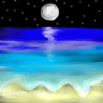 Moon watches over the sea by Druacula