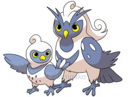 arctic owls fakemon by Aminako