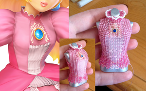 Princess Peach Bead Dress - Bodice Progress by pinkythepink