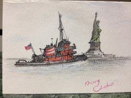 Tugboat Christmas Card by RobtheDoodler