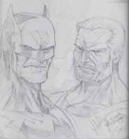 Old Man Batman and Logan Sketch by jey2dworld