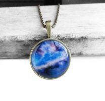 Antique Bronze Blue and Purple Galaxy Necklace by crystaland