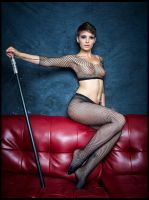 Red Leather Couch Dancer by Bekon