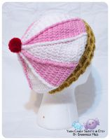 Ice Cream Cone Hat: Straberries and Cream 2 by moofestgirl