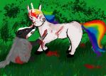 BADGER UNICORN KNIFE FIGHT by Kitsune-chan16